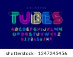 colorful tubes font  alphabet... | Shutterstock .eps vector #1247245456