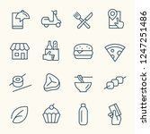food delivery line icons   Shutterstock .eps vector #1247251486