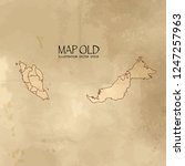 old malaysia map with vintage... | Shutterstock .eps vector #1247257963