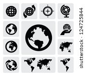 globe and world map icons on... | Shutterstock .eps vector #124725844