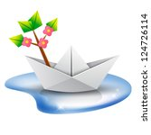 Spring is coming! Paper boat with a blossom tree branch aboard sailing in a puddle - stock vector
