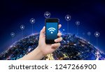 smart phone in hand and using... | Shutterstock . vector #1247266900