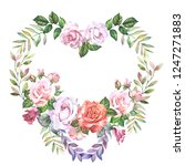 flowers heart with watercolor... | Shutterstock . vector #1247271883