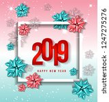 happy new year 2019 green and... | Shutterstock .eps vector #1247275276
