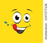 hungry face on yellow... | Shutterstock .eps vector #1247277136