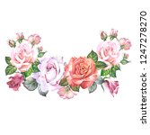flowers garland with watercolor ... | Shutterstock . vector #1247278270