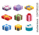 9 different presents   various... | Shutterstock .eps vector #1247281210