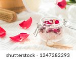 body scrub with salt  rose and... | Shutterstock . vector #1247282293