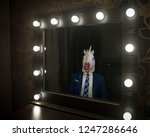 glamour guy in suit and mask... | Shutterstock . vector #1247286646