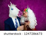 portrait of strange couple on... | Shutterstock . vector #1247286673
