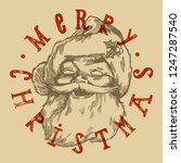 vintage santa face retro... | Shutterstock .eps vector #1247287540