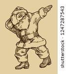 vintage santa claus dabbig... | Shutterstock .eps vector #1247287543