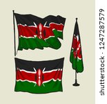 flag of kenya on the wind and... | Shutterstock .eps vector #1247287579
