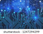 blue circuits and network... | Shutterstock . vector #1247294299