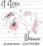 vector illustration of cute... | Shutterstock .eps vector #1247295589