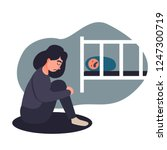 depressed young woman. young ... | Shutterstock . vector #1247300719