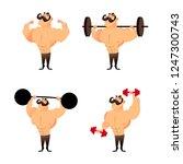 cartoon strong muscular... | Shutterstock . vector #1247300743