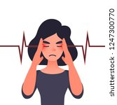 unhappy young woman with severe ... | Shutterstock . vector #1247300770