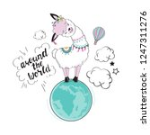 cute llama on the planet and... | Shutterstock .eps vector #1247311276