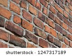 old obsolete red brick wall... | Shutterstock . vector #1247317189