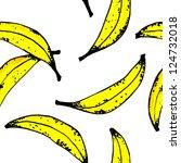 seamlles banana pattern white | Shutterstock . vector #124732018