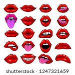 large set of red female lips on ... | Shutterstock .eps vector #1247321659