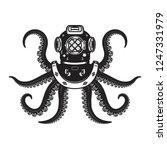 vintage diver helmet with... | Shutterstock .eps vector #1247331979