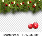 realistic pine leaves  baubles... | Shutterstock .eps vector #1247333689