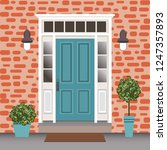 house door front with doorstep... | Shutterstock .eps vector #1247357893