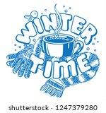 the inscription winter time... | Shutterstock .eps vector #1247379280