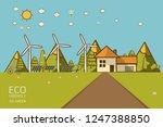 vector illustration of eco home ... | Shutterstock .eps vector #1247388850