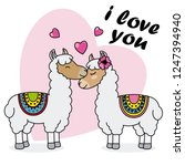 couple of llamas in love.... | Shutterstock .eps vector #1247394940