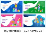 shopping woman happy of bought... | Shutterstock .eps vector #1247395723