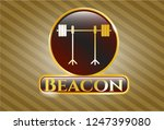 shiny emblem with barbell on... | Shutterstock .eps vector #1247399080