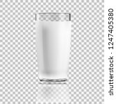 realistic clear glass of milk... | Shutterstock .eps vector #1247405380
