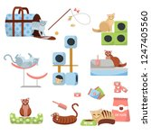 Stock vector set of cat accessories cats scratching post house bed food tray slipper carrier and toys 1247405560