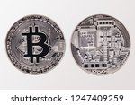 face and back of silver bitcoin ... | Shutterstock . vector #1247409259