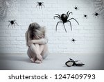 woman sitting on the floor and... | Shutterstock . vector #1247409793