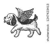 angel flying dog puppy... | Shutterstock .eps vector #1247423413