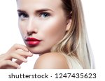 close up beauty face of... | Shutterstock . vector #1247435623