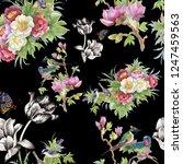 watercolor seamless pattern ... | Shutterstock . vector #1247459563