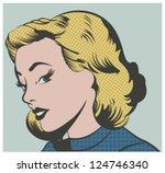 pop art woman vector... | Shutterstock .eps vector #124746340