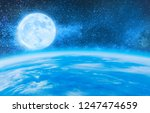 earth and moon with starry sky  ... | Shutterstock . vector #1247474659