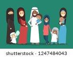 happy arab family. muslim... | Shutterstock .eps vector #1247484043