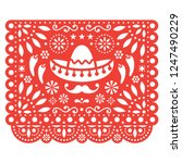papel picado vector floral...   Shutterstock .eps vector #1247490229