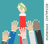 many hands try to grab money... | Shutterstock .eps vector #1247491126