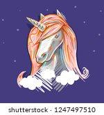 cute unicorn portrait with... | Shutterstock . vector #1247497510