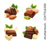 dark chocolate with nuts... | Shutterstock .eps vector #1247516200