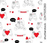 cute cats. couple in love.... | Shutterstock .eps vector #1247535283