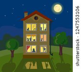 house at night  glowing windows ... | Shutterstock .eps vector #1247553106